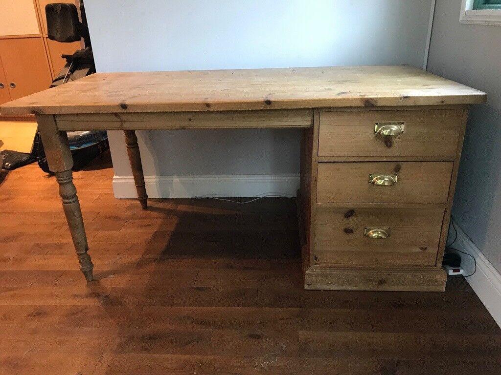 Large Pine Desk Left Or Right Handed In Bourne End Buckinghamshire Gumtree