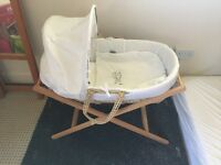 Unisex white Moses basket with mamas and papas stand