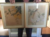2 gold framed paintings - hand painted on silk