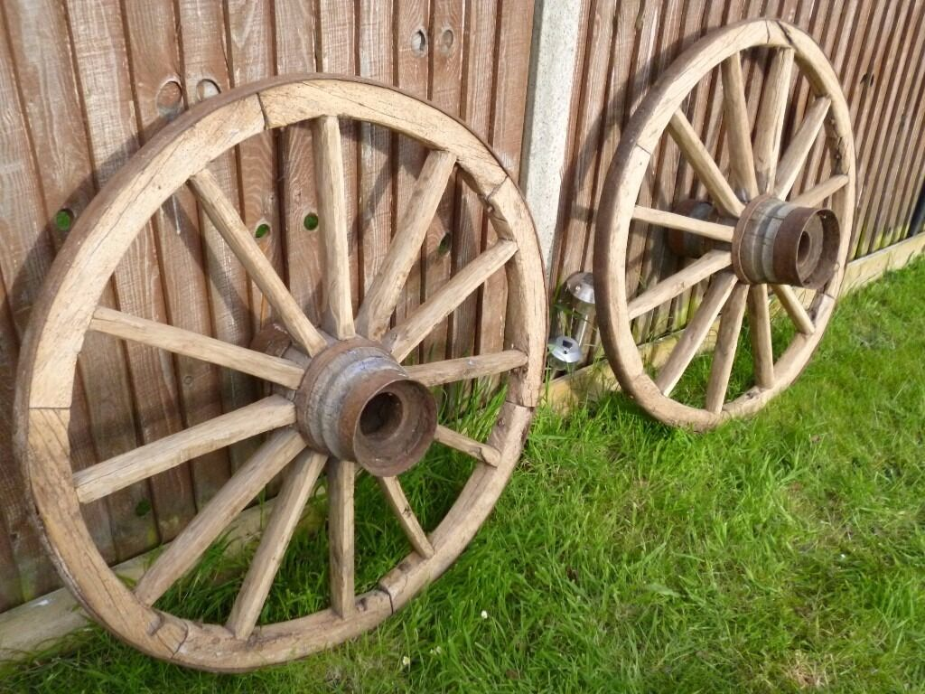 Genuine 1800\'s Solid Wagon Cart Wheels, Large 42inch , Perfect For ...