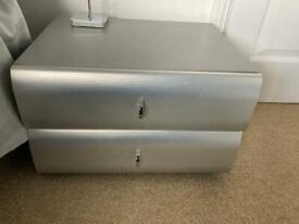 Chest of drawers and bedside cabinet (x2) Silver