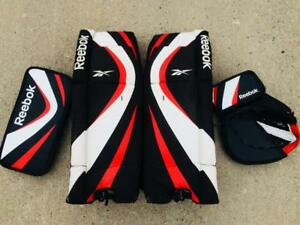 "Reebok Ball or Street Hockey Goalie Set Catcher/Blocker and 27"" Pads Senior Size"