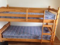Bunk beds solid pine mattress included