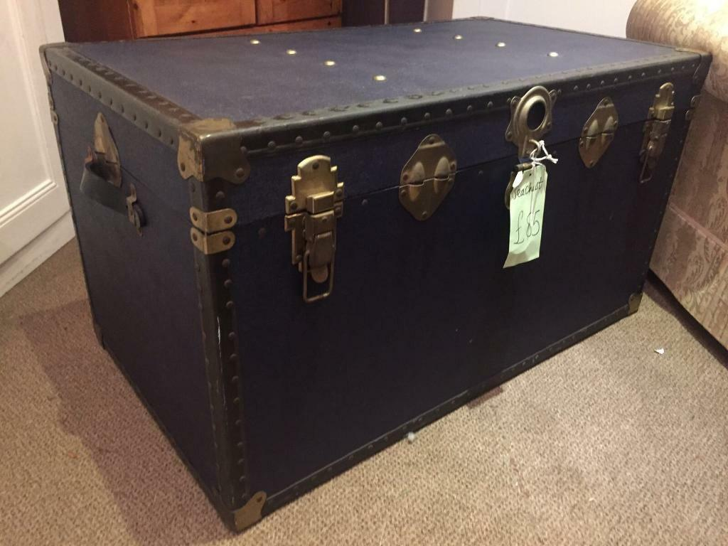 Vintage Trunk Chest In Navy Blue Brushed Brass Hardware