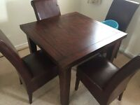 Dark wood furniture dining table cabinet nest chairs