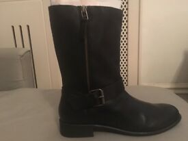 Fatface Black leather Biker Boot size 41 brand new in box