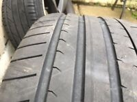 "4x Genuine 112 Audi alloy (1 damaged, 1 repaired) 19"" with tyres 2"
