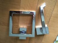 Chrome square toilet roll holder and towel holder