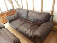 brown leather sofa 7ft long, a few cat scratches, want gone today for £25