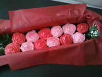 Red cupcake bouquet freshly baked £25 7 rose bouquet £15 12 cupcake box with decorations £25