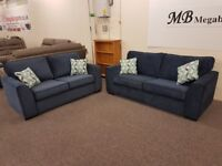 Ex Display Dark Blue 3 & 2.5 Seater Fabric Sofas **CAN DELIVER**