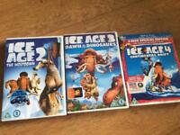 Ice Age DVDs 2,3 & 4