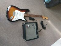 Fender squier strat with amp (no plug), tuner, jack lead, jack to usb, jack to headphone/aux, +