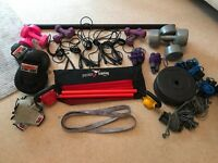 Gym Equipment job lot boxing gloves weights kettle bells skipping ropes