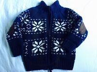 Next Thick winter navy Blue jacket Jumper cardigan Boys 4-5 yrs Christmas Snow