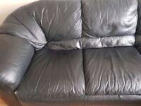 Corner Sofa - Black Leather.