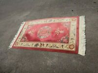 Vtg Traditional Hand Made Art Deco Chinese Oriental Multi-colored Wool Rug w/ Tassels177x90cm 7.6kg