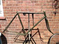 "Raleigh lenton / clubman reynolds 531 1940s / 1950s steel road bike frame 27"" 26"""
