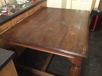 Large solid wood table.