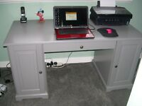 Ikea Computer Table with 2 Side Cabinets and 1 Drawer Light Gray in Colour