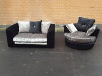 Fantastic Brand New crushed velvet sofa suite. 2 seater sofa and swivel chair.can deliver