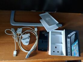 16gb iphone 4 black - unlocked with flexible plastic case, 2 charging cables, and the original box!