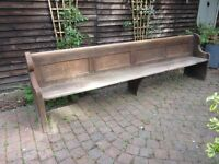 Antique church pew in solid oak, 10ft X 3ft. Never painted. No rot or worm.