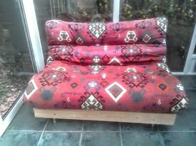Futon small double sofa bed with Aztec pattern