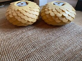 Immaculate x2 ocre lampshades