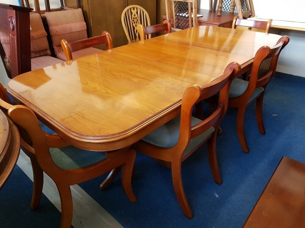 Yew Wood Extending Dining Table And 6 Chairs In