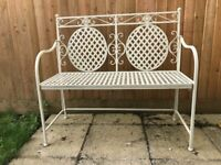 Shabby chic metal garden bench