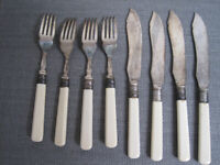 Vintage Fish Cutlery Set - Faux Bone Handles / EPNS / Shabby Chic COLLECT ONLY