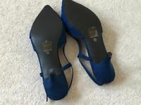 Navy blue wedding sling back shoes 6.5