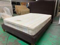 Double dark brown Brand NEW velvet frame bed and mattress