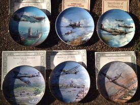 Collectors Aircraft Plates. Spitfires and Hurricanes. 6 plates, with certificates. With boxes.