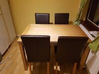 Oak Table and 4 Brown Leather chairs
