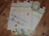Next Baby Nursery tab top Curtains, light shade & canvas- Ziggy and Friends- unisex