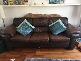 Real Brown Leather 3 seater sofa and Arm chair