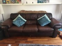 Genuine Brown Leather 3 seater sofa and Arm chair