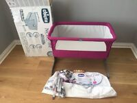 Chicco Next 2 Me Side- sleeping Crib - Fuchsia - Immaculate Condition