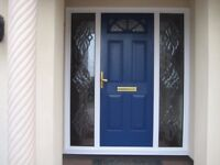 Blue Front Door with Glass Side Panels