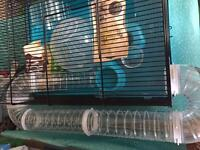 Hamster cage large with with ball and extra bits