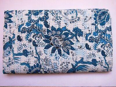 Kantha Quilt Antiqe Cotton Handmade Bedspread King Size Bird Crazy Blanket