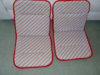 2 Grey and Red Striped Seat Covers