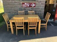 Solid oak dining table & 6 chairs * free furniture delivery *