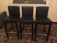 Ikea Henriksdal Leather Bar Stools 3 No. Black/Brown