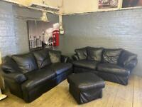 BLACK LEATHER SOFA SET + FOOTSTOOL IN EXCELLENT CONDITION