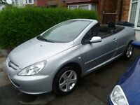 PEUGEOT 307 CC CONVERTIBLE , 2005 REG, LONG MOT, LOW MILEAGE, TOP SPEC WITH ALLOYS & CLIMATE CONTROL