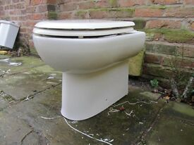 White back to wall toilet with seat