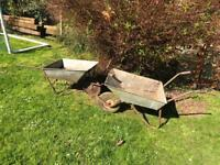 vintage galvanised metal wheelbarrow planters garden pots wedding prop